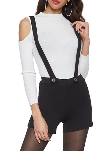 Crepe Knit Suspender Shorts,BLACK,large
