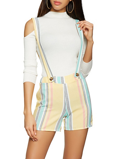 Striped Suspender Shorts,YELLOW,large