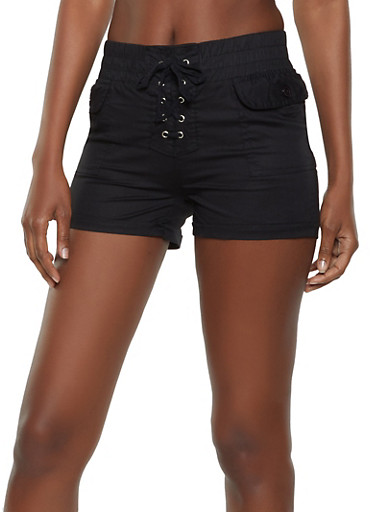 Cuffed Lace Up Shorts,BLACK,large