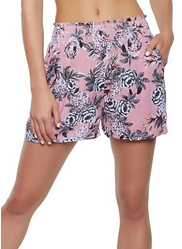 Floral Leaf Smocked Waist Shorts,BLACK,large