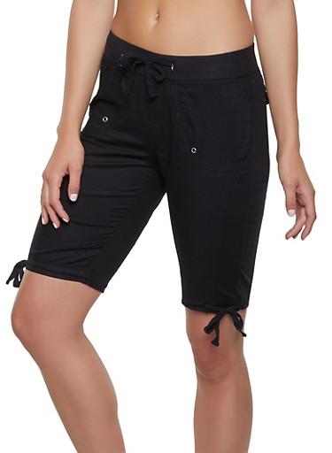 Tie Hem Bermuda Shorts,BLACK,large