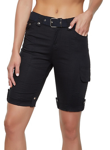 Tabbed Cuff Belted Cargo Bermuda Shorts,BLACK,large