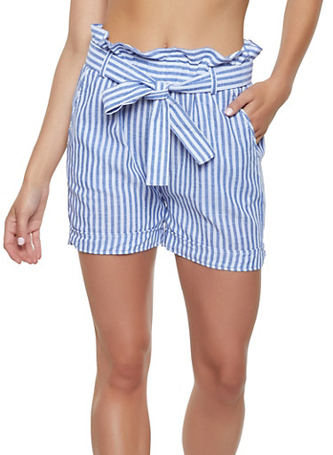 Striped Paper Bag Waist Linen Shorts,NAVY,large