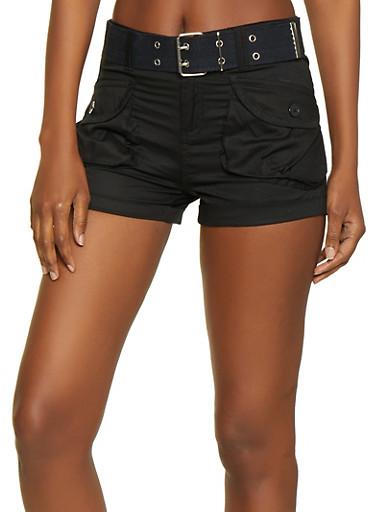 Belted Cargo Shorts | 1060038342271,BLACK,large