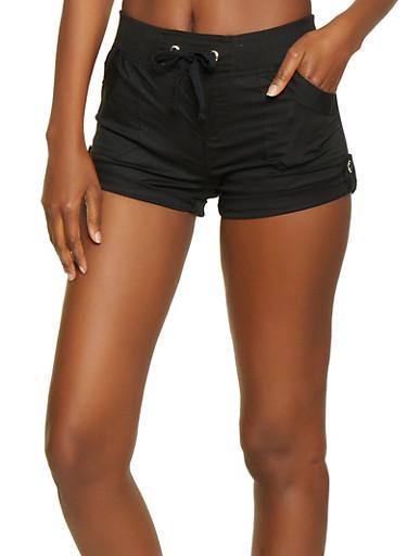 Tabbed Cuff Shorts,BLACK,large
