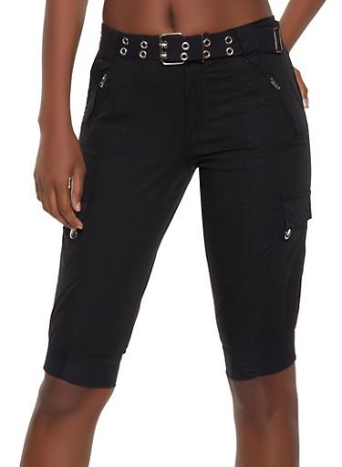 Belted Cargo Bermuda Shorts,BLACK,large