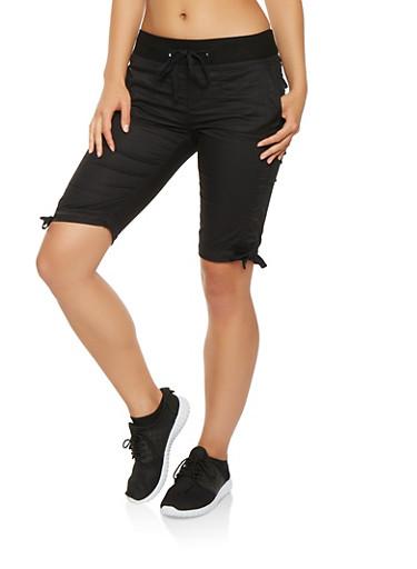 Drawstring Tie Hem Cargo Bermuda Shorts,BLACK,large