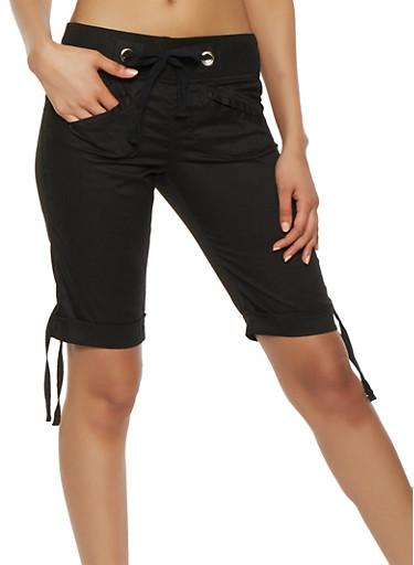 Tie Cuff Bermuda Shorts,BLACK,large