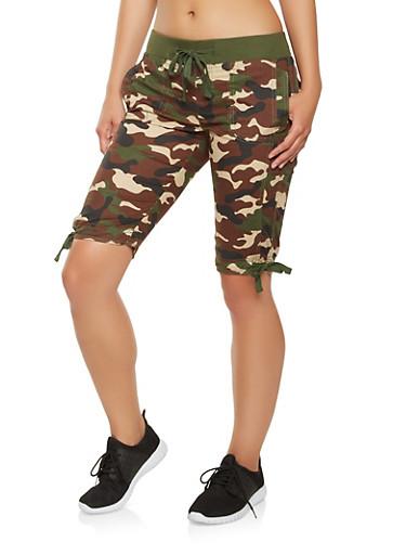 Camo Cargo Bermuda Shorts,OLIVE,large
