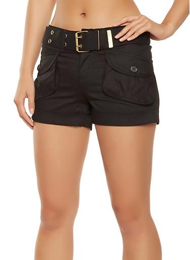 Belted Cargo Shorts,BLACK,large
