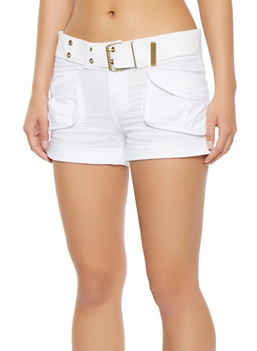 Belted Cargo Shorts,WHITE,large