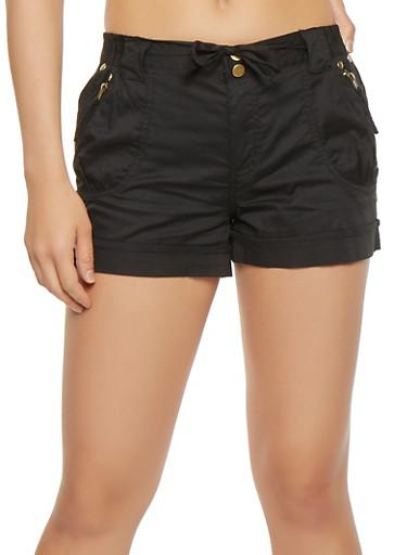 Zip Trim Tie Front Cargo Shorts,BLACK,large