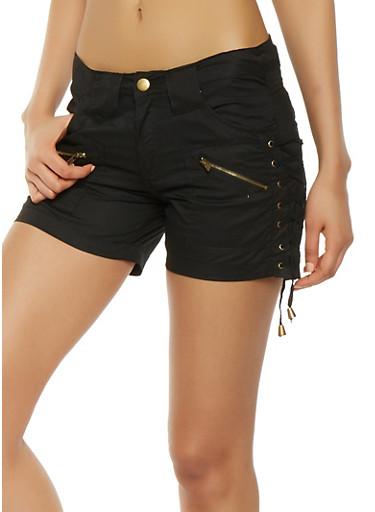 Lace Up Side Cargo Shorts,BLACK,large