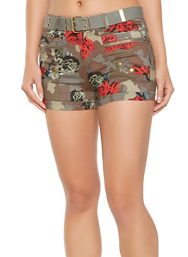 Belted Floral Camo Cargo Shorts,OLIVE,large