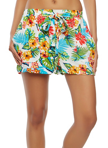 Floral Tie Front Shorts,IVORY,large