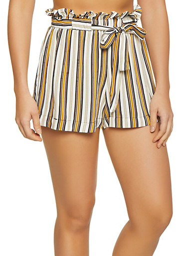 Striped Tie Paper Bag Waist Shorts,IVORY,large