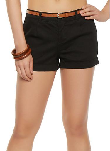 Belted Twill Shorts,BLACK,large