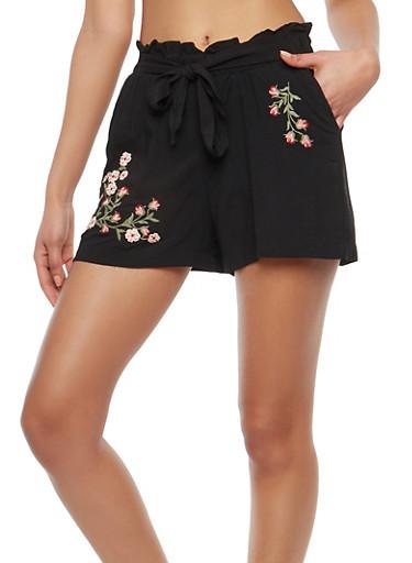 Floral Embroidered Paperbag Waist Shorts,BLACK,large