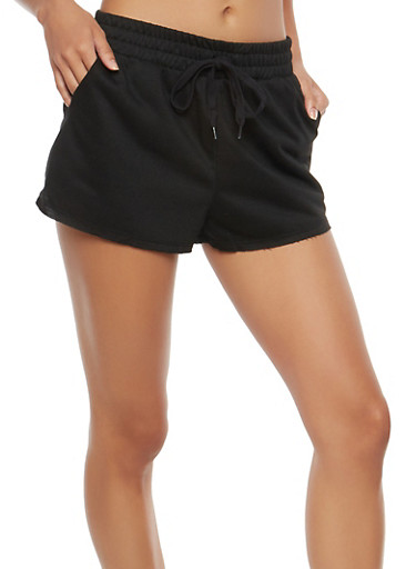 Raw Hem French Terry Shorts,BLACK,large