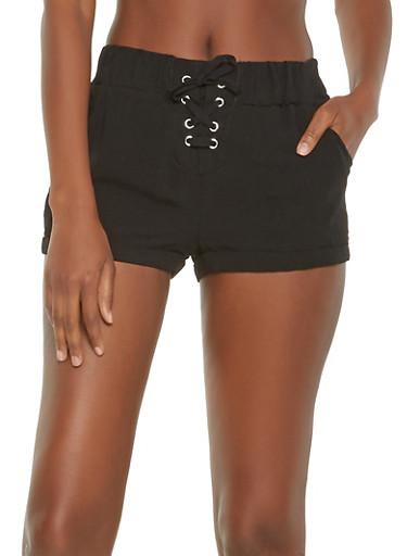 Lace Up Shorts,BLACK,large