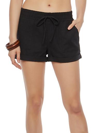 Solid Linen Shorts,BLACK,large