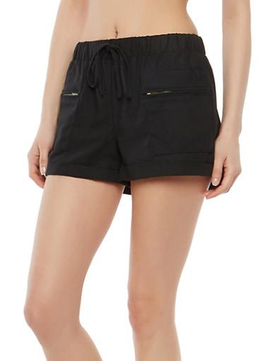 Zip Pocket Linen Shorts,BLACK,large