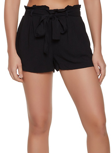 Solid Paper Bag Tie Waist Shorts,BLACK,large