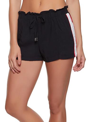 Stripe Side Paper Bag Shorts,BLACK,large