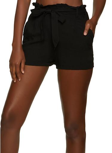 Paper Bag Waist Tie Front Shorts,BLACK,large
