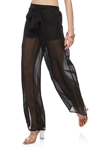 Tie Front Side Slit Palazzo Pants,BLACK,large