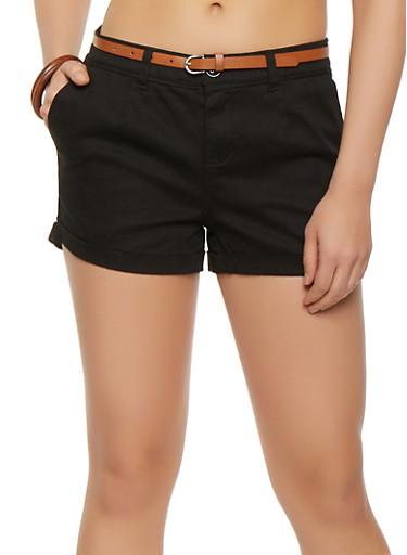 Cuffed Twill Shorts,BLACK,large