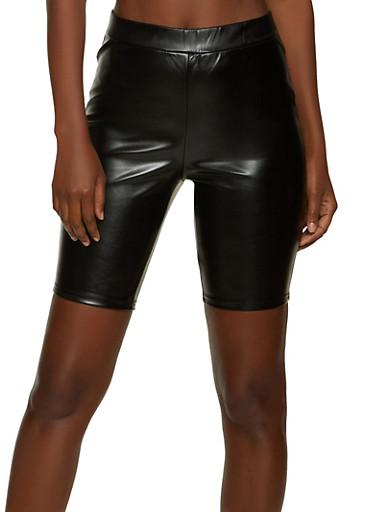 Pull On Faux Leather Bike Shorts,BLACK,large