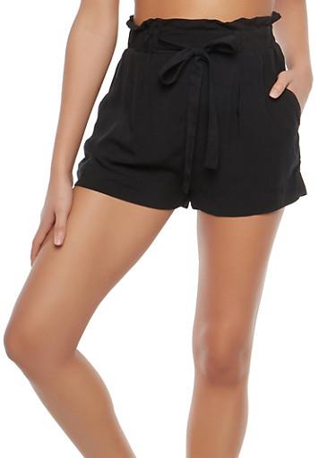 Paper Bag Waist Linen Shorts,BLACK,large