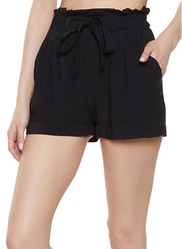 Tie Front Paper Bag Waist Shorts,BLACK,large