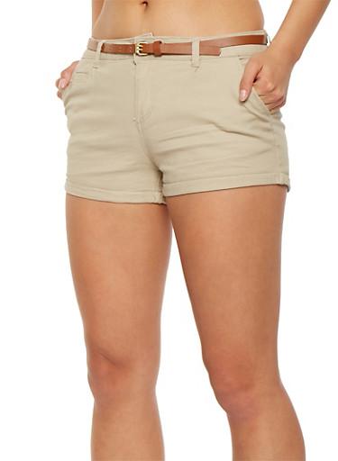 Belted Twill Shorts,KHAKI,large