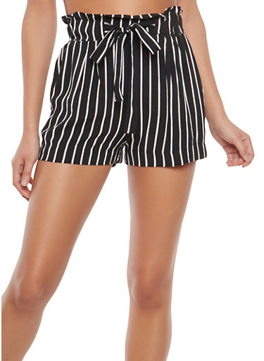 Striped Paper Bag Waist Shorts,BLACK/WHITE,large