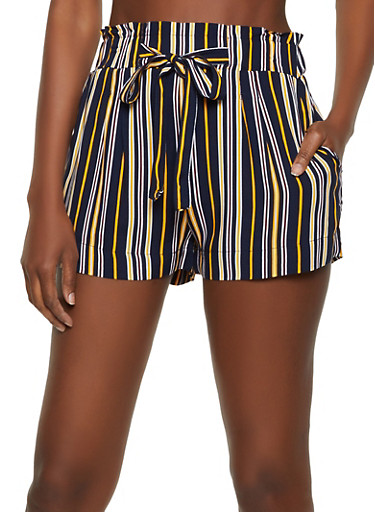 Striped Tie Front Shorts | 1060054264466,NAVY,large