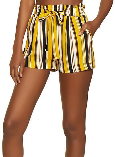 Paper Bag Waist Striped Shorts,BLACK,large