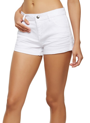 Solid Twill Shorts,WHITE,large