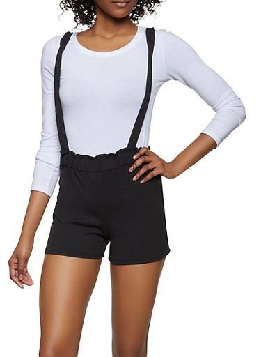 Paper Bag Waist Suspender Shorts,BLACK,large