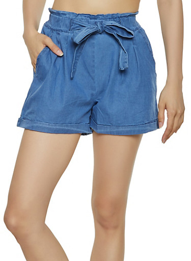 Chambray Paper Bag Waist Shorts | 1060074017159,MEDIUM WASH,large
