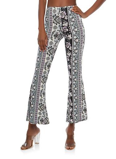 Printed Flare Pants,PURPLE,large