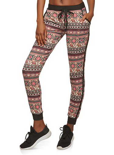 Soft Knit Printed Joggers,BURGUNDY,large