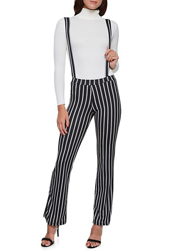 Striped Suspender Pants | 1061020623361,BLACK/WHITE,large