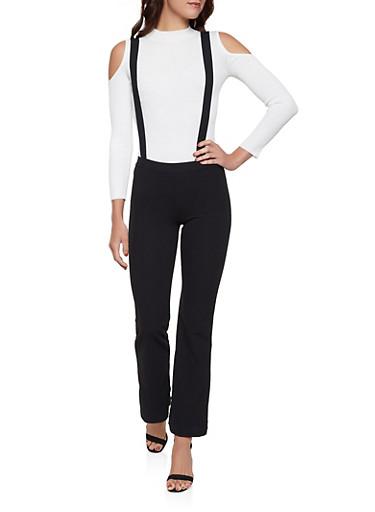 Solid Suspender Pants,BLACK,large