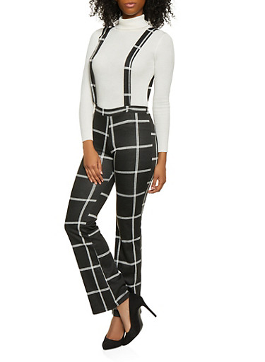 Windowpane Flared Suspender Pants,BLACK/WHITE,large