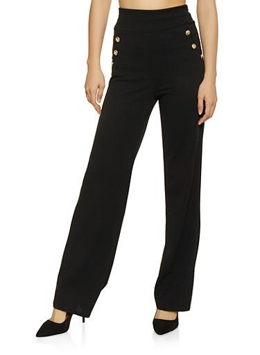 Flared Sailor Pants,BLACK,large