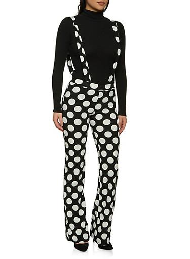 Flared Polka Dot Suspender Pants,BLACK,large