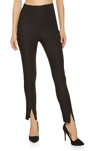 Pintuck Stretch Pull On Pants,BLACK,large