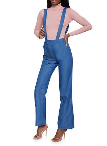 Chambray Suspender Pants,MEDIUM WASH,large